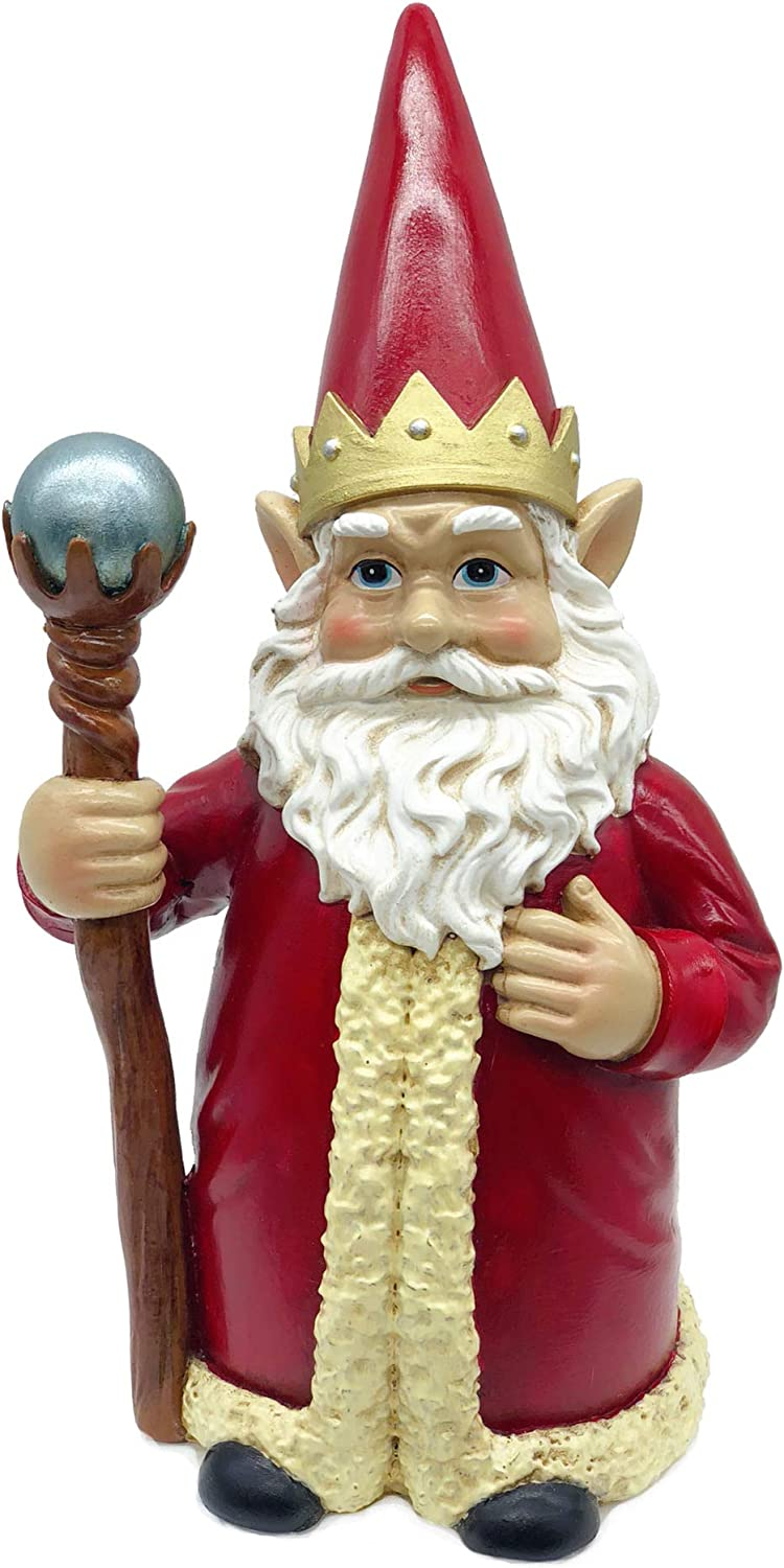 FICITI Gnome King with Red depot Robe Crown Superior Scepter and Ruler