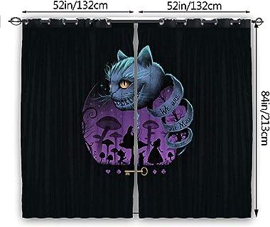 ESCFLAG Rideaux Alice au pays des merveilles - 132 x 213,4 cm (2 panneaux) - Idéals pour décorer la maison