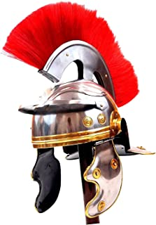 THE ARMOUR WORLD Roman Centurion Helmet w/Red Plume Armor | Medieval Metal Replica Helm | Soldier Costume Gladiator Silver...