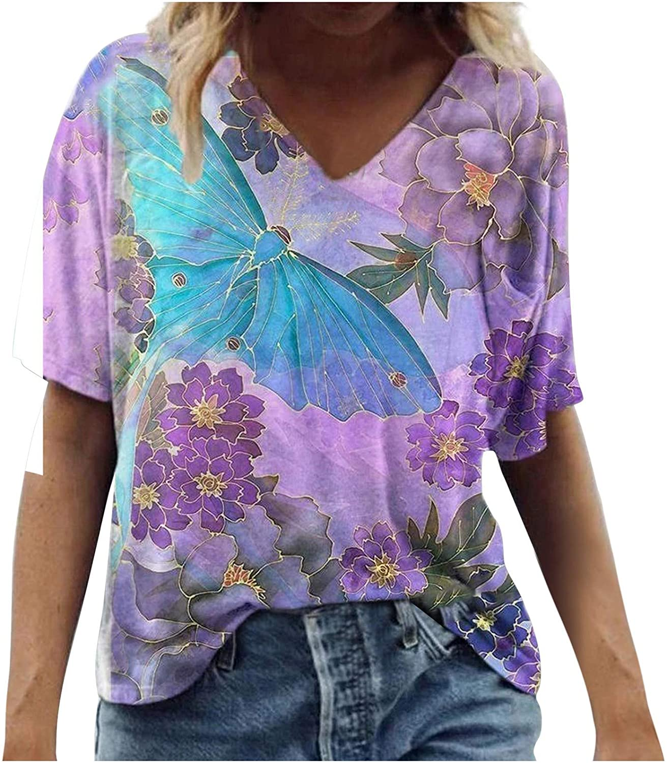 Womens Short Sleeve Tops, Summer Tops for Women Butterfly Print T-Shirt V Neck Fashion Tees Causal Tunic Blouses
