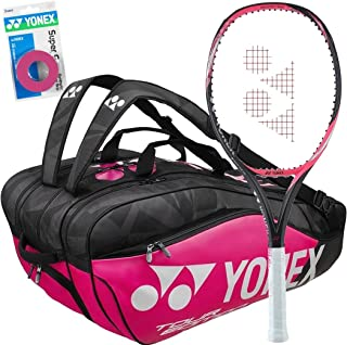 Yonex EZONE Lite (10.1 oz/286 g) Smash Pink Midplus 16x18 Graphite Tennis Racquet Set or Kit Bundled with Matching Tennis Bag and 3-Pack of Pink Supergrap Overgrips