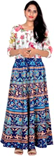 Rajvila 36 Inch Length Women's Cotton Printed Regular Long Elasti Skirt for Women (E_E36NT_0006)