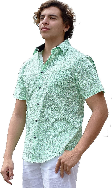 bohio Cotton-Spandex Green Print (1) Pocket Casual Short Sleeve Shirt (S ~ 2XL) - MCS1292