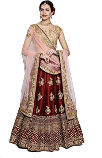 622d1f893f maruti fashion Women's Tafeta Satin Silk Heavy Embroidary Work Lehenga Choli  (Red Rani, Red