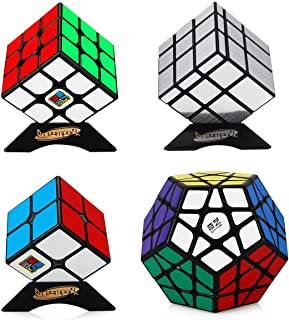 Dreampark Speed Cube Bundle 4 Pack 2x2 3x3 Megaminx Mirror Magic Cube Puzzle Collection Toys for Kids and Adults (Black)