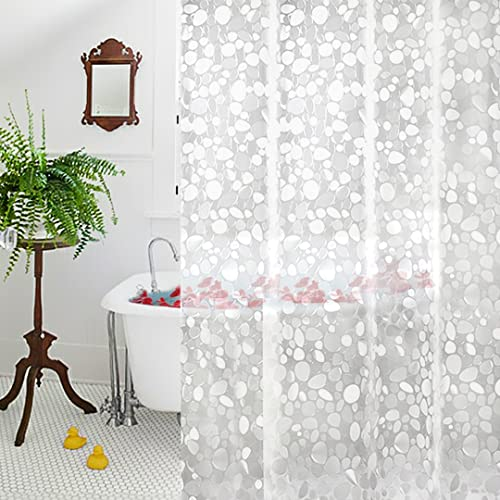 Clear Shower Curtain Liner, AooHome EVA Cobblestone Pattern Bathroom Curtain with Hooks, Mildew Resistant, Waterproof...