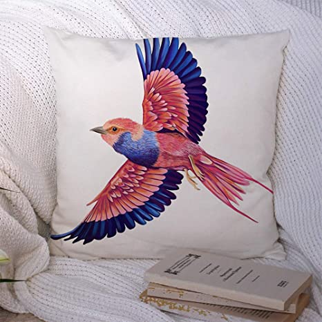 Amazon Com Pillow Covers Tropical Flying Bird Pink Power Nature Pet Blue Color Colourful Animals Colorful Wildlife Pattern Decorative Polyester Throw Pillow Pillowcase Cushion Cover For Couch 20x20 Inch Home Kitchen
