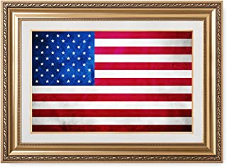 DECORARTS - American Flag. Giclee Print& Museum Quality Framed Art for Wall Decor. Total with Framed Size: 36x26