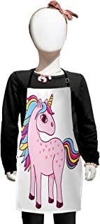 Lunarable Kawaii Kids Apron, Unicorn Design with Rainbow Colored Mare and Tail Childrens Cartoon Style Doodle, Boys Girls Apron Bib with Adjustable Ties for Baking Painting, Kids Size, Baby Pink