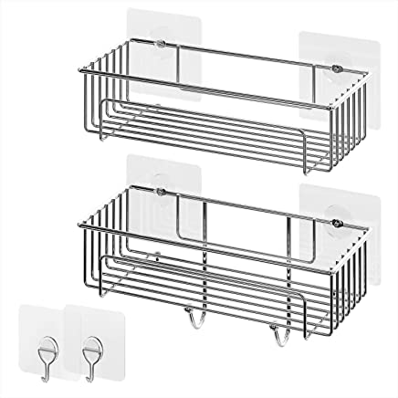 Lifewit Bathroom Shelves Organizer Storage Kitchen Rack with No Drilling Traceless Transparent Adhesive Shower Caddy,  2 Packs,  9.8×4.5×4.3