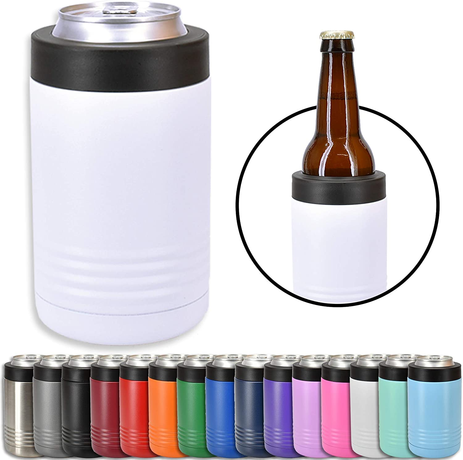 Clear Water Home Goods - 12 oz Stainless Steel Double Wall Vacuum Insulated Can or Bottle Cooler Keeps Beverage Cold for Hours - Powder Coated White