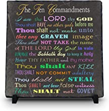 InspiraGifts The Ten Commandments Religious Inspirational Home Decor | Natural Stone Plaques | Christian Gifts (King James Version (Black Design))
