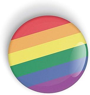 Gay Pride Flag pin badge button or magnet, Orgullo bandera botón de insignia o imán de nevera LGBT LGBTQ LGBTQI LGBTQIA