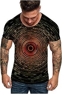 Ackful Men Fashion Unisxe Dizziness Funny 3D Print O-Neck Short Sleeve T Shirt Tees Top