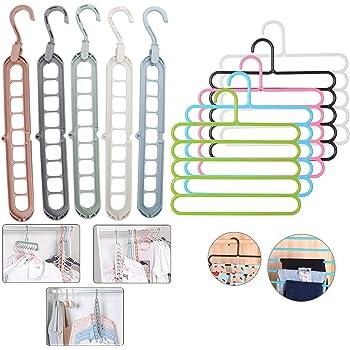 Hojo 5 pcs 9 hole magic hanger and 5 pcs 5 layer Hanger Combo Space Saver Smart Closet Organizer Wardrobe Multifunctional Multicolor