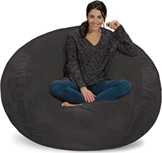 Chill Sack Bean Bag Chair: Giant 5' Memory Foam Furniture Bean Bag - Big Sofa with Soft Micro Fiber Cover - Grey Furry
