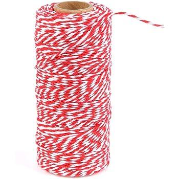 2/metros de cable de 2/mm Bakers Twine Cuerda Cuerda Hilo Blanco y verde rayas cortar 2mm