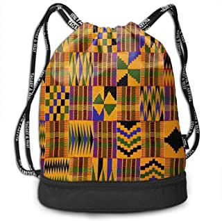 Backpack Drawstring Bag Ghana Kente Materials Gym Drawstring Bags