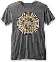 Official The Beatles T Shirt SGT Pepper Drum Burnout Grey Mens Classic Rock tee