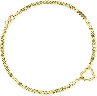 Ross-Simons 14kt Yellow Gold 2-Strand Heart Center Anklet