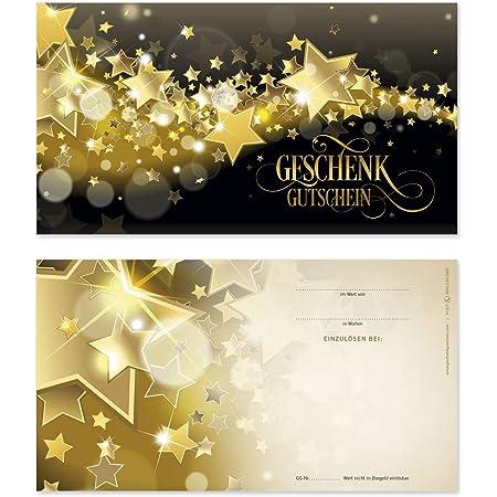 G1250 Restaurantgutschein 10 Gutscheinkarten Geschenkgutscheine f/ür Restaurant Gastronomie Hotel Vorderseite gl/änzend 10 Kuverts 10 Schleifen