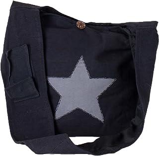Vishes Yogi Beuteltasche aus Baumwolle mit aufgenähtem Stern schwarz-grau