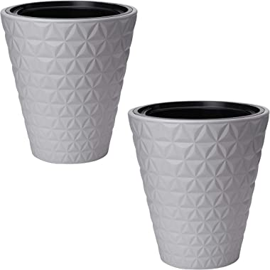 Miami Modern Plastic Planter Flower Pot – Pack of 2 – Indoor Outdoor for Home & Garden 16 (Platinium)