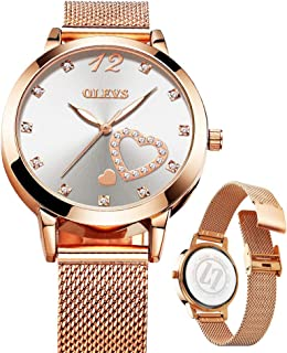 Ladies Fashion Watches with Rose Gold Mesh/Green Leather,Women's Luxury Watch,New Style Watch for Women,Women's Casual Watch,Lady Amazon Watch,Lady Gold Watch,Quartz Watch Lady,Waterproof Watch Lady