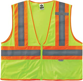 (XXXX-Large/XXXXX-Large, Lime) - GloWear 8230Z ANSI Two-Tone High Visibility Lime Reflective Safety Vest, 4XL/5XL