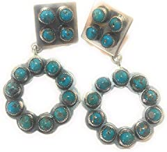 Morenci Turquoise Sterling Silver Navajo Dangle Earrings