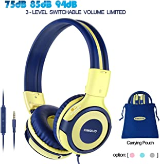 SIMOLIO Kids Headphones with Microphone, 94dB-85dB-75dB Volume Limited Headphone Share Port, On-Ear Wired Headphone with AUX Jack, Foldable & Durable Headphones for Children, Teens, Adults(Yellow)