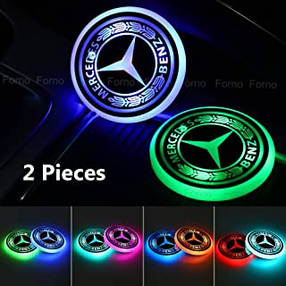 Lipctine Universal LED Car Cup Holder Lights Mats Pad Human Skeleton RGB Drink Coaster Accessories Interior Decoration Atmosphere Compatible for BMW Jeep Benz VW Audi Ford Chevrolet Dodge Honda Toyota