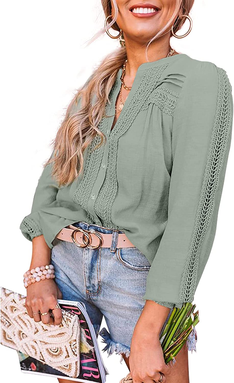 BESFLY Women's Button-Down Blouses Long Sleeve Chiffon T-Shirts for Women Loose Casual Shirts V Neck Top