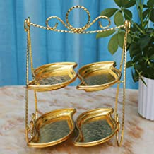 WYY Two-layer Printed Fruit Plate European Cake Tray Double-layer Candy Plate Afternoon Tea Western Snack Stand Dessert Table (Color : Gold)