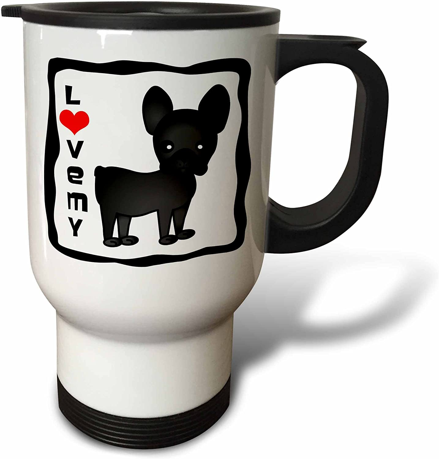 3drose I Love My French Bulldog Black Brindle Stainless Steel Travel Mug 14 Ounce Kitchen Dining