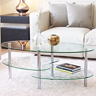 Ryan Rove Ashley - Oval Two Tier Glass Coffee Table - Coffee Tables for Living Room, Kitchen, Bedroom – Office - Glass Shelves Under Desk Storage - Silver and Clear Glass