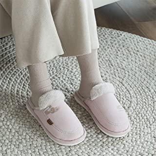 Winter Home Thick Bottom Warm Plush Cotton Slippers-Comfortable Indoor Non-Slip PVC Couple Men's Home,Pink,36