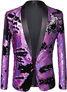 Men Stylish Two Color Conversion Shiny Sequins Blazer Suit Jacket