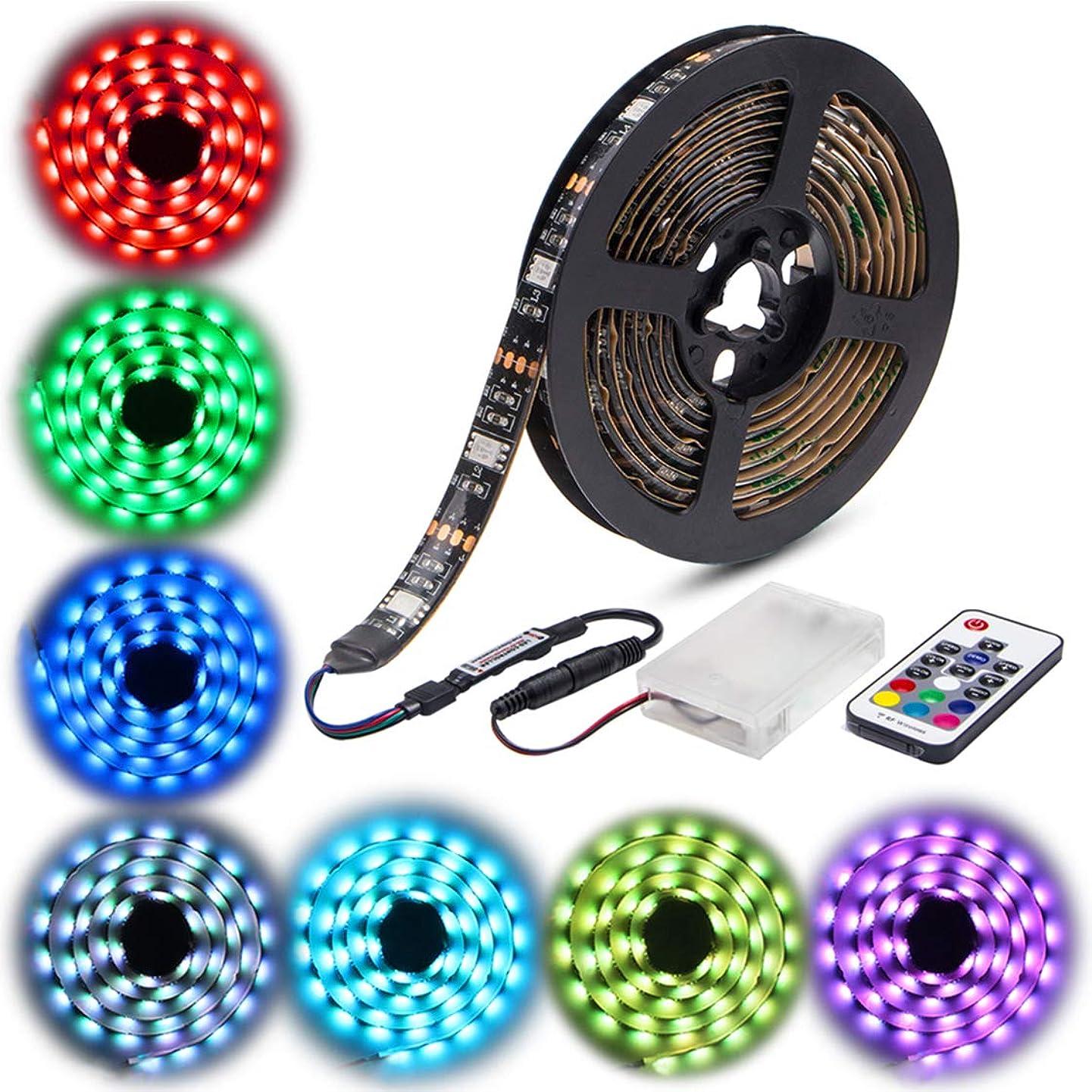 Led Strip Lights Battery Powered,abtong RGB Led Strip Rope Lights Waterproof Led Lights with Remote Control Flexible Led Strip Lighting-2M/6.56ft