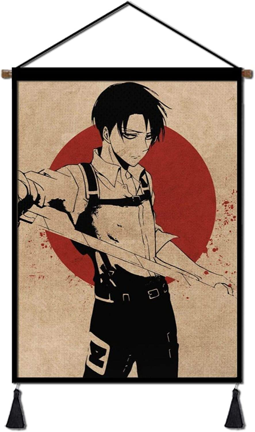 Japanese Anime Wall Scroll Hanging Poster, Attack on Titan Levi Poster with Hanger Canvas Wall Art for Home Bedroom Dorm Office(18''Wx26''H)