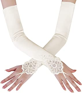 Long Opera Party 20s Satin Gloves Stretchy Adult Size Elbow Length