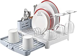 Stainless Steel Dish Drying Rack 4 PC Combo with Extendable Drip Tray, Cutlery Holder, DIY Wine Glass Holder for Kitchen,Utensil Drying Rack