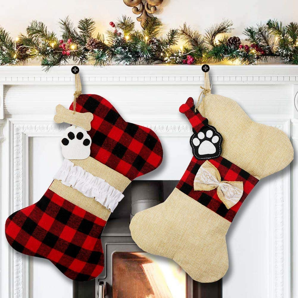 AerWo Pet Dog Christmas Stockings free Set of 2 Plaid Christ Nippon regular agency Buffalo