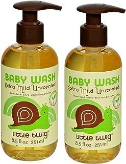 Little Twig Extra Mild Fragrance Free Baby Wash (Pack of 2) with Aloe Vera Leaf Juice, Chamomile Flower Extract, Vitamin B5 and Jojoba, 17 fl. oz.