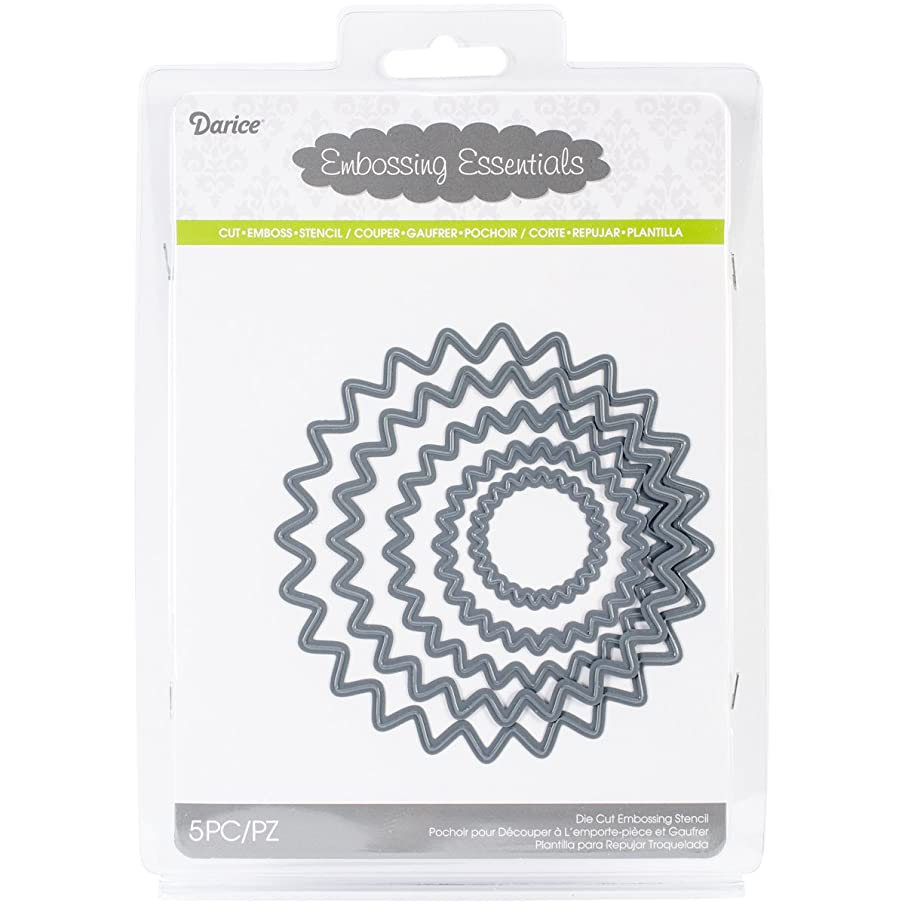 Darice Embossing Essentials Dies, Nesting Scallop Circles, 5-Pack
