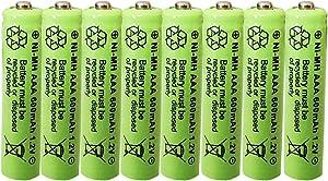 Rechargeable Solar Light Batteries AAA NiMh 600mAh 1.2V for Outdoor Garden Lights (8 Pack)