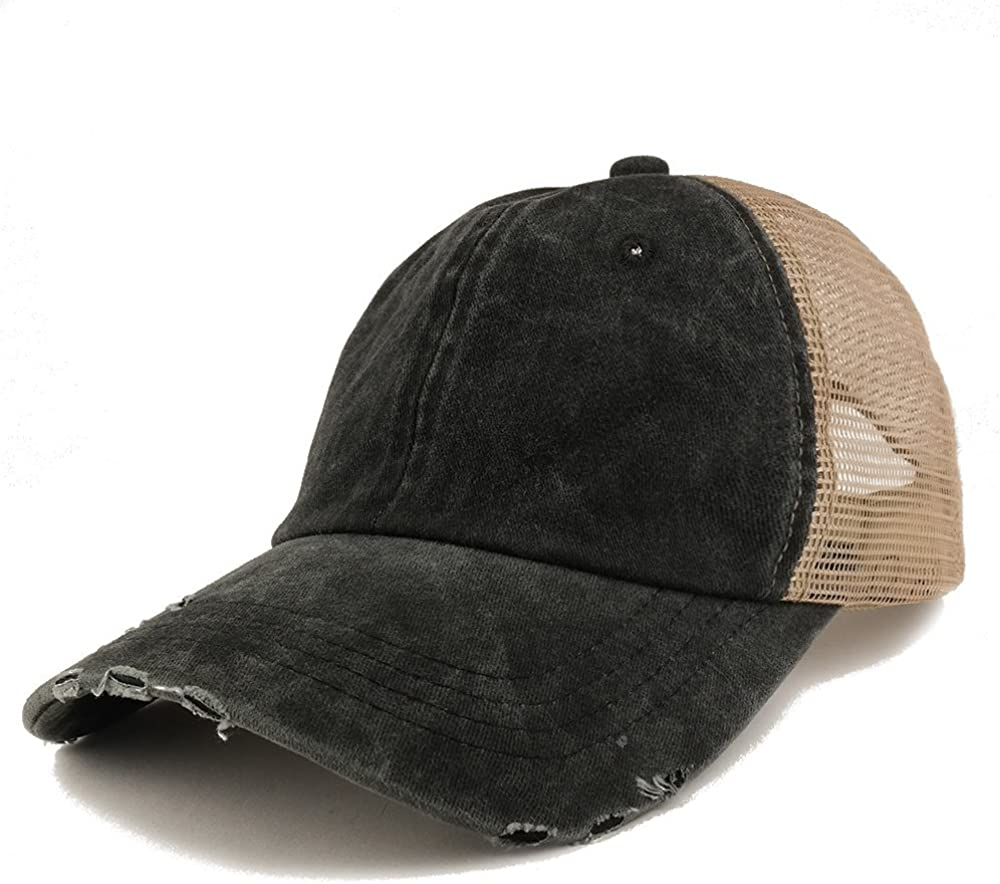 Trendy Apparel Shop Pigment Dyed Front Mesh Back Frayed Bill Trucker Cap