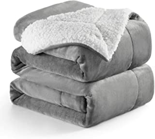 Bedsure Sherpa Fleece Blanket Twin Size Grey Plush Blanket Fuzzy Soft Blanket Microfiber
