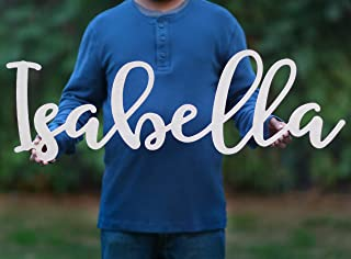 Custom Name Nursery Wooden Sign, Isabella Font Personalized Nursery Decor, New Baby Gift, First Name Wood Cutout, Personalized Kids Room Sign Decor