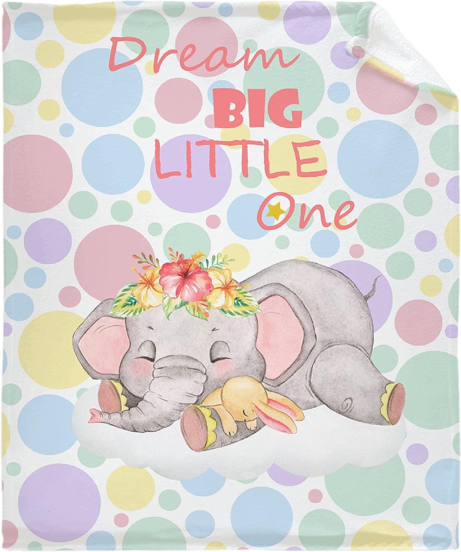 Muilti-Style Dream Big overseas Little One Throw Blanket B Indefinitely Elephants Kids